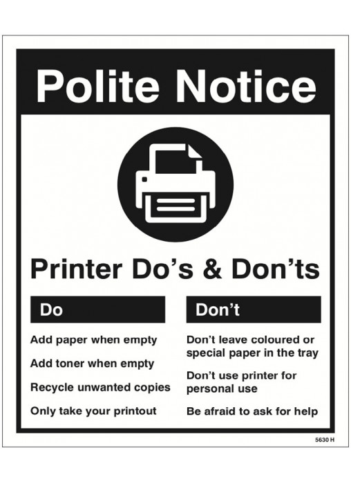 Printer Do S Amp Don Ts Safety Signs Amp Equipment Fast